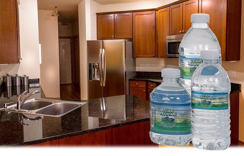 kitchen with little bottles